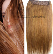 #8  chestnut  brwon  Full Head 1pcs full head set  Brazilian Virgin remy human hair extensions clips in/on 26 colors available