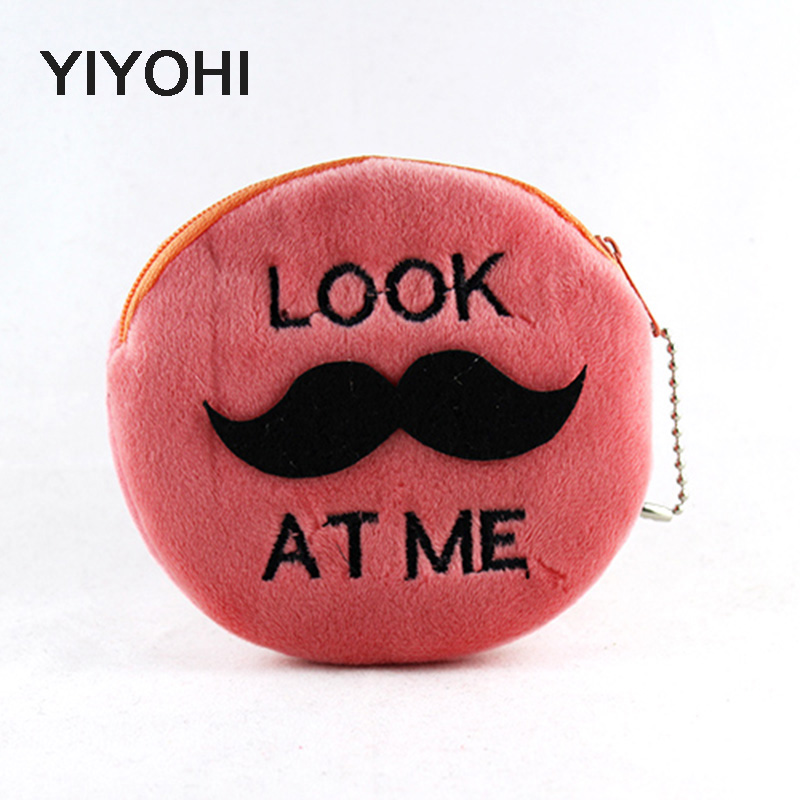 YIYOHI New Kawaii Cartoon Beard  Children Plush Coin Bag Purse Zippper Change Purse Female Mini Wallet Kids Girl Women For Gift new 2016 cartoon cute minions dave bob plush coin change purse zipper mini children bag women wallets girl for christmas gift