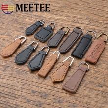 Meetee 10pcs 15.5-38mm Leather Zipper Head Slider Puller DIY Men Women Bag Hand Pendant Luggage Accessories BD507