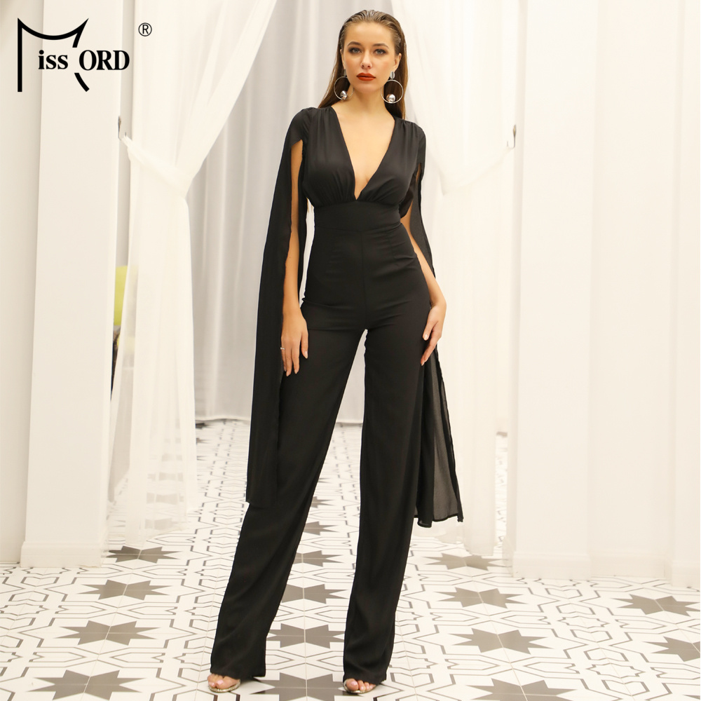 Missord 2019 New Summer Sexy Deep V Bodysuits Elegant Rompers Chiffon Long Sleeve Backless Sexy Bodycon   Jumpsuit   FT18846-2