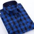 2017 primavera hombres plaid camisas casuales de algodón de franela marca clothing más el Tamaño Del Collar Del Cuadrado de Manga Larga Slim Fit Vestido de Los Hombres camisas