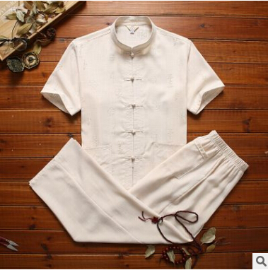 Elderly Tang Men's Linen Plate Buckle Middle-aged Grandpa Chinese Style Father Dad Set Summer Collar Short-sleeved Thin Coat