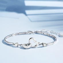 Crystal Heart Charm Sterling Silver Bracelet For Women