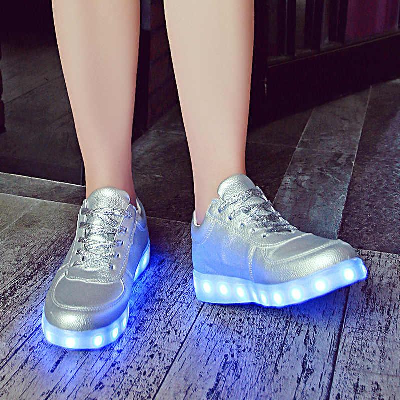 2019 Luminous รองเท้าผ้าใบ Backlight เรืองแสง LED รองเท้าเด็กชายหญิงรองเท้าผ้าใบ Luminous Sole หญิงตะกร้า Femme LED รองเท้าแตะ