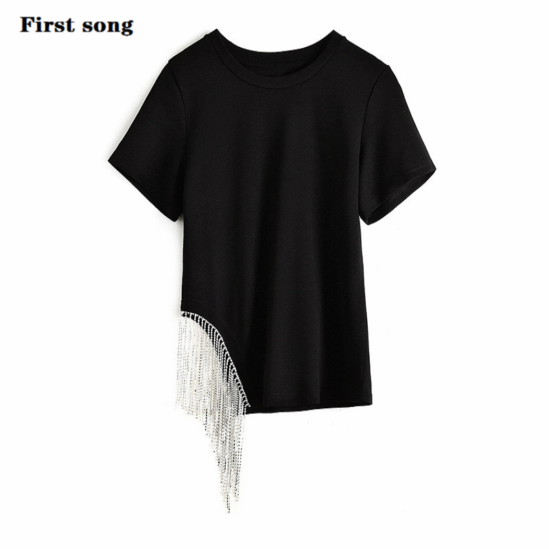 First Song Tee Shirt Femme Camisetas Verano Mujer Women's New2019 Summer Sexy Knit Cotton Fabric Women's Tee Shirt Femme