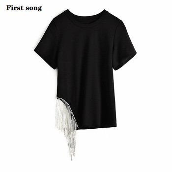 цена на First song tee shirt femme camisetas verano mujer women's New2019 summer sexy knit cotton fabric women's tee shirt femme