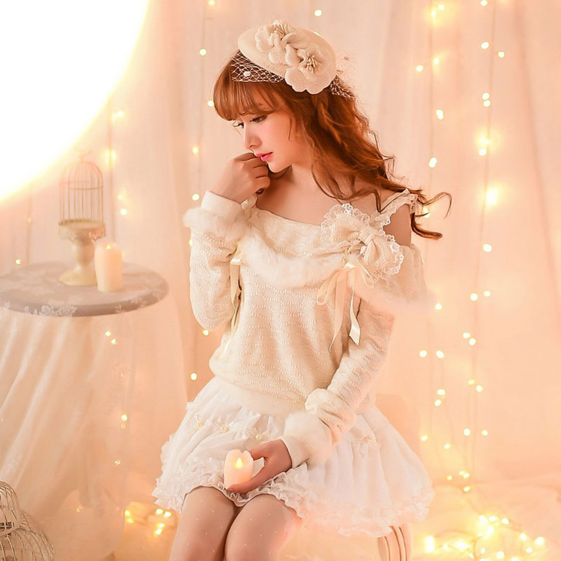 Princess Sweet Lolita Sweater Candy Rain Autumn Winter Japanese Style Sweet Fairy Dew Shoulder Rabbit Hair Bow Sweater C16CD6122