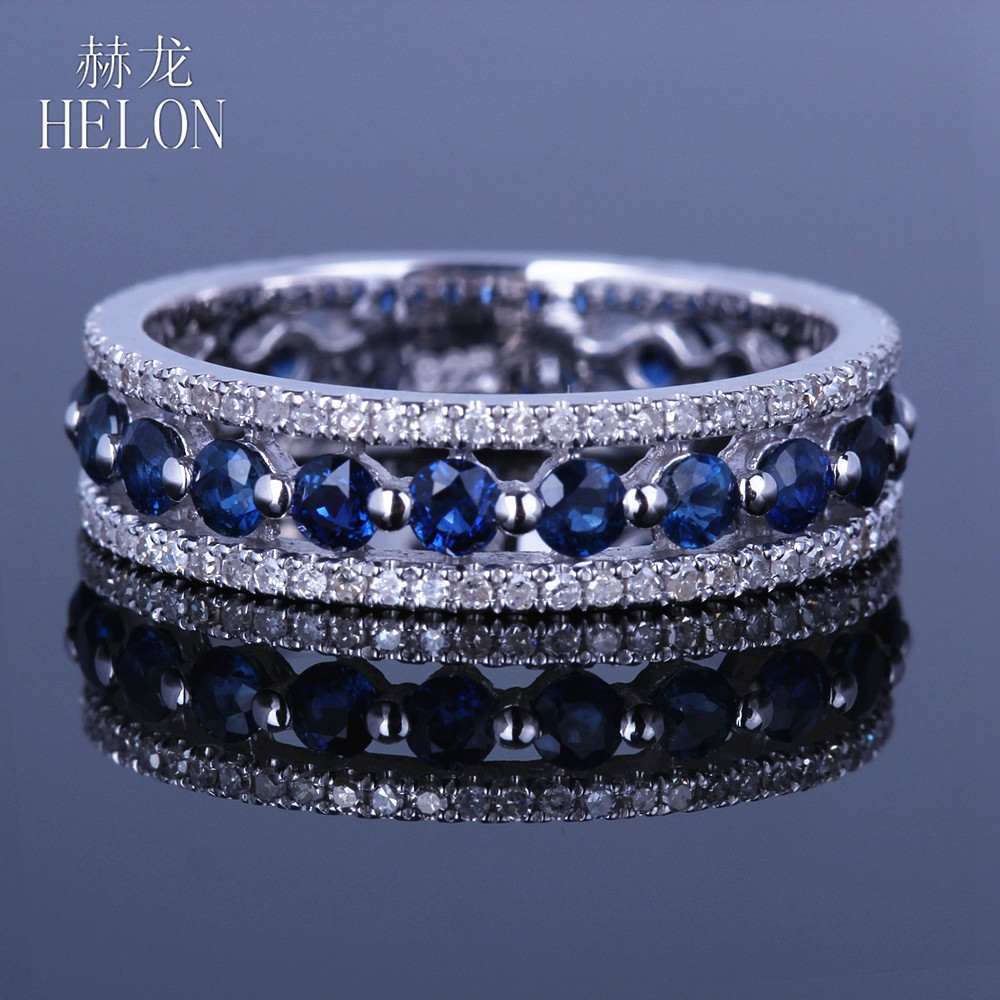 HELON Solid 14K White Gold Real Natural Diamond & Sapphires Ring Fine Jewelry Engagement Wedding Ring Anniversary Gemstone Band цены онлайн