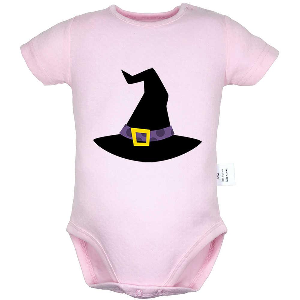Шляпа ведьмы на Хэллоуин фонарь-тыква, черный дизайн паука, боди для новорожденных, костюм для малышей, комбинезон Onsies, хлопковая одежда