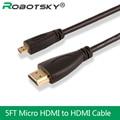 Robotsky alta velocidad 5ft el 1.5 m hdmi v1.4 macho a macho a micro hdmi cable 1080 p 1440 p para hdtv ps3 xbox 3d lcd
