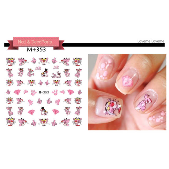 Nails Art Sticker Decals Pink Panther Cartoon Harajuku Fantacy Nail Wraps  Sticker Decorations