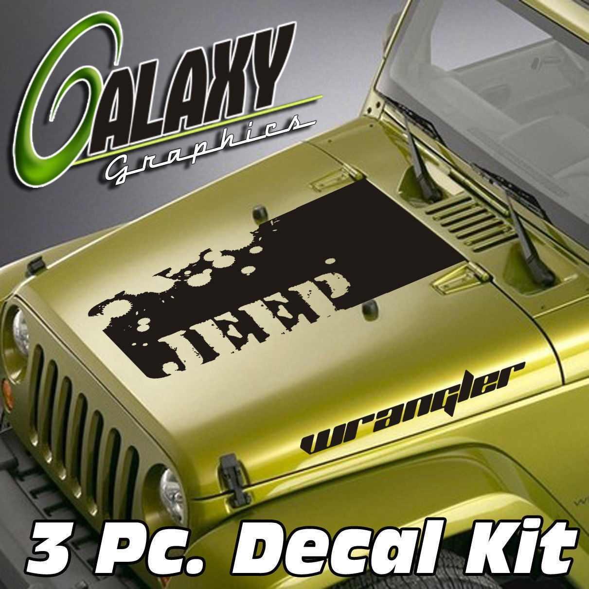 For Universal Wrangler 3 Pc  Blackout Hood Decal Kit #2 - Vinyl Sticker TJ  LJ JK