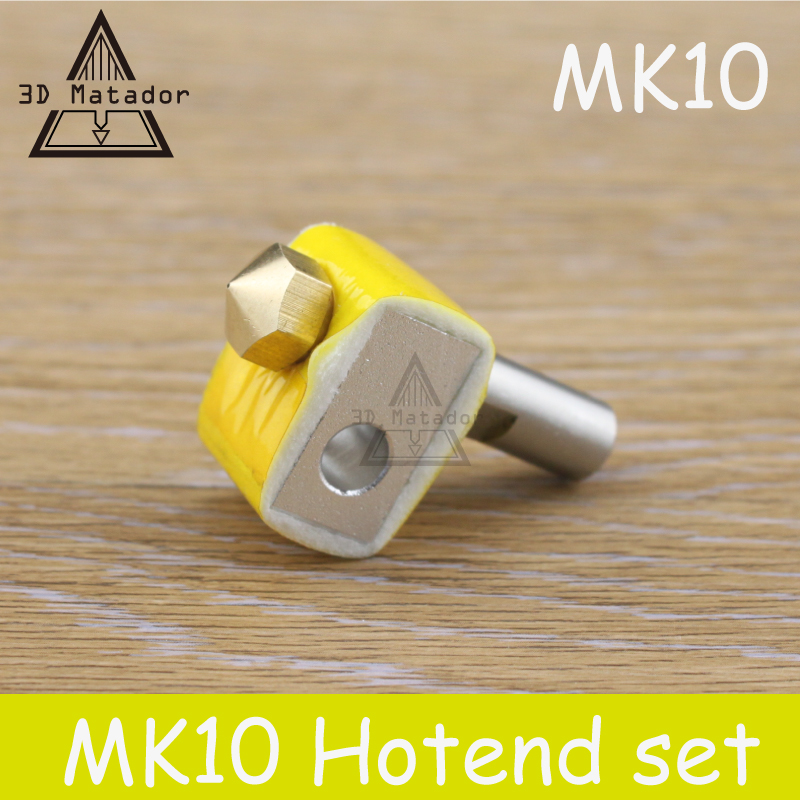 HOT SALE!1SET MK10 Extruder brass M7 Nozzle kit Aluminum Heating Block+MK10 Brass Nozzle+PTFE throat For MAKERBOT 2 3D Printer