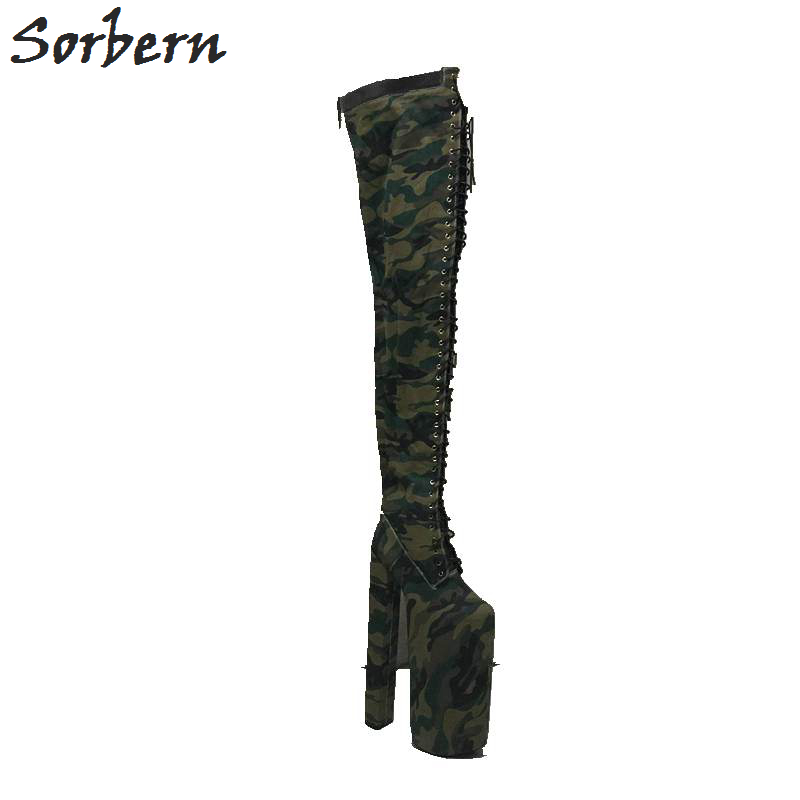 Sorbern Camouglage Canvas Thigh High Boots Women 35cm Chunky High Heels 28cm Thick Platform Winter Style Shoes Plus Size EU34-46 sorbern extrem high heel strange style wedges thigh high boots designer platform boots long custom shoes women plus size 4 15
