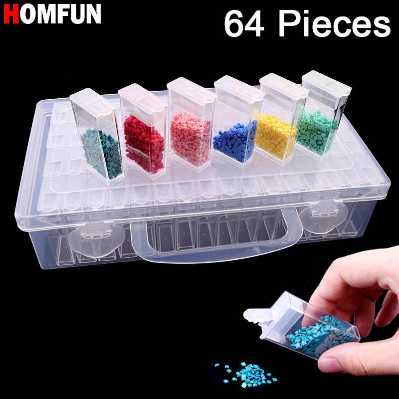 HOMFUN nouvel outil de peinture diamant broderie diamant! Daimond boîte de rangement en plastique transparent, cadeau de boîte de rangement de perceuse à bijoux