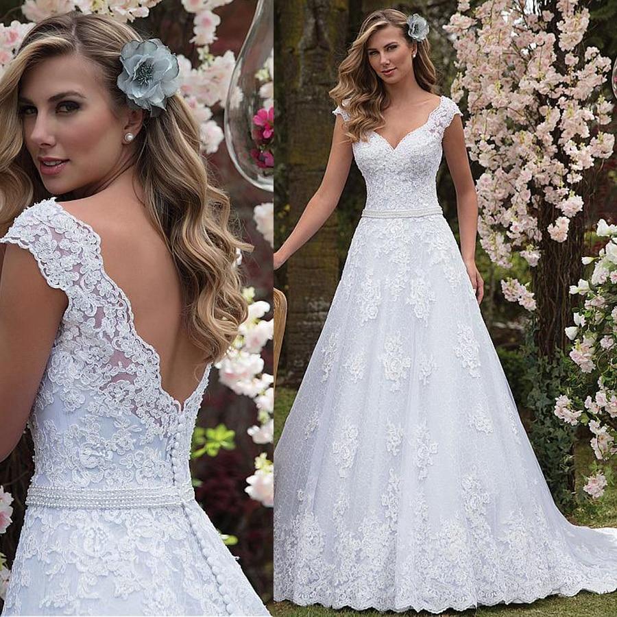 Graceful Tulle & Lace V-neck Neckline A-line Wedding Dress With Lace Appliques & Beadings Sash Bridal Dress Vestido De Casamento