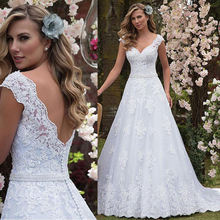Graceful Tulle & Lace V-neck Neckline A-line Wedding Dress With Lace Appliques & Beadings Sash Bridal Dress vestido de casamento