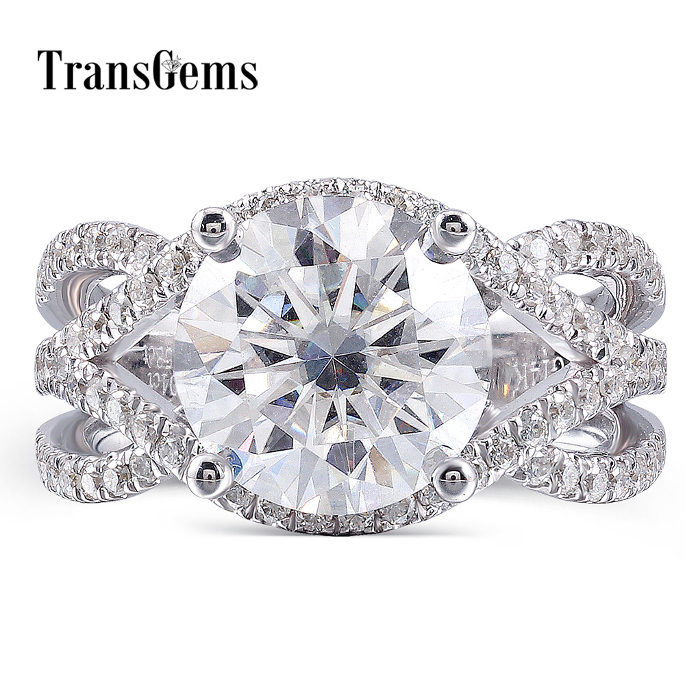 Transgems Center 4ct 10mm F Color Moissanite Engagement Ring Luxury 14K White Gold Ring with Moissanite Accents 4mm Band Width цены онлайн