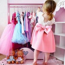 Baby Girl Bow Knot Lace Backless Dress