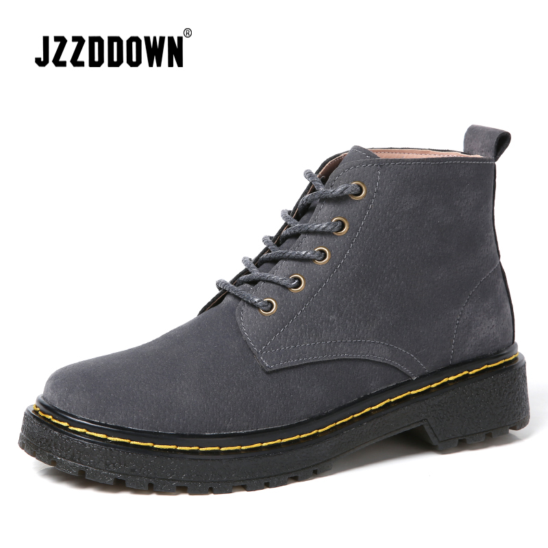 JZZDDOWN Heel High 4cm Women's boots Cow Suede Lace Up women's leather boots Luxury ankle boots for women 3 Color ladies martin