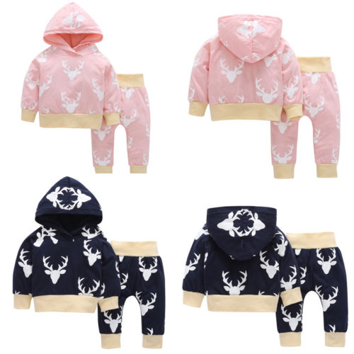 Newborn Infant Baby Girl Clothes Hoodie Tops Deer Pants Leggings 2Pcs Outfits Toddler Girls Boy Lovely Hooded Warm Clothing Set newborn baby boy girl 5 pcs clothing set cotton cartoon monk tops pants bib hats infant clothes 0 3 months hight quality