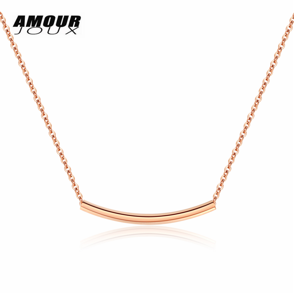 AMOURJOUX Romantic Smiling Shape One Stick Pendant Rose Gold Color 316L Stainless Steel Choker Necklaces For Women