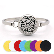 BOFEE Aromatherapy Diffuser Bracelet Locket Silver Magnetic Stainless Steel Essential Oil Bangle Fashion Jewelry 30mm