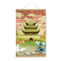 Chinese Landscape Yueyang Tower Ancient Architecture Decoration Wall Art Pictures Canvas Wooden Scroll Paintings For Living Room