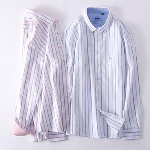 Image 3 - Mens Oxford 100% Cotton Fashion Stripe Casual Long Sleeve Shirts Retro Style High Quality Design Mens Dress Shirts Blouse