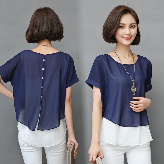 2019 Summer Blouse Women Short Sleeve Chiffon Shirt Ladies Fake Two Piece Blusas Femininas Women Clothing Loose Plus Size 4XL H8