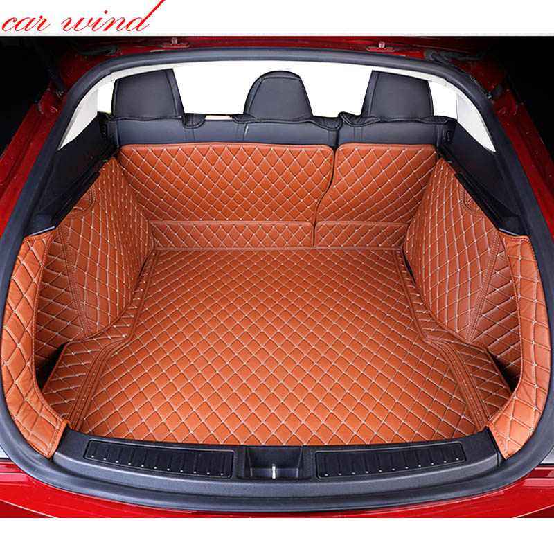 Car wind Custom car trunk mat For tesla model s 2014 2016 Cargo Liner Interior Accessories Carpet car styling Foot mat free shipping luxury pu leather car trunk mat cargo mat for chevrolet malibu holden 2016 9th generation