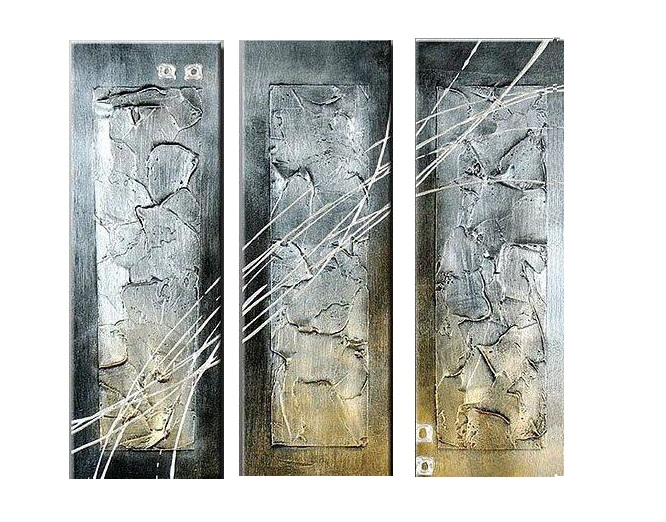 Large Silver Wall Decor: 3 Pcs Hand Painted Silver Modern Abstract Canvas Oil