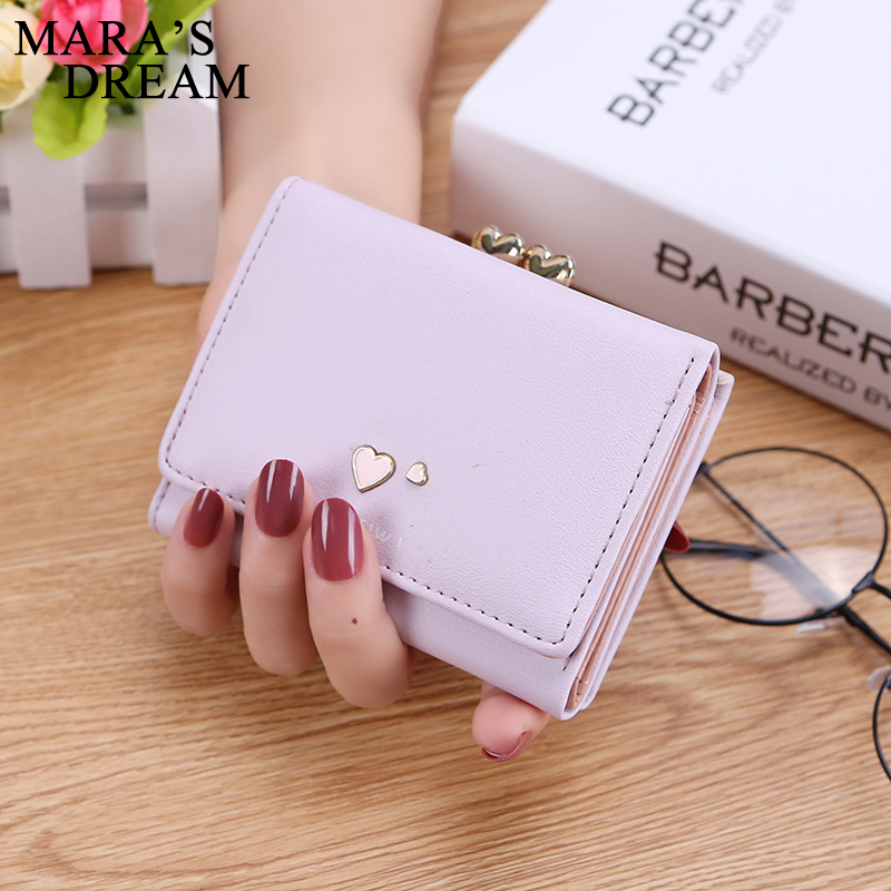 Mara's Dream 2018 PU Leather Bifold Women Wallets Heart Solid Color Short Desgin Female Women's Coin Purse Billfold Carteras Bag
