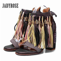 Jady Rose Purple Handmade Tassels Women Sandals Summer Chunky High Heels Genuine Leather Gladiator Sandal Fringed