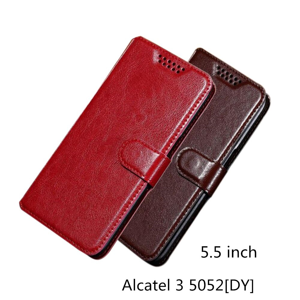 For Alcatel 3 5052[DY] Luxury PU Leather Back Cover Case For Alcatel 3 5052[DY] Case Flip Protective Phone Bag