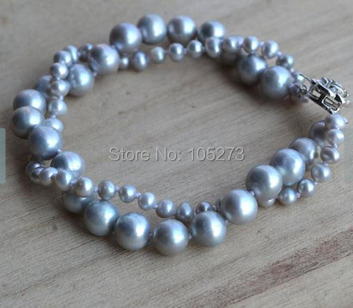 New Arriver Gray Pearl Bracelet 8 Inches 4-8mm 2 Strands Freshwater Pearl Bracelet Wedding Party Jewelry Free Shipping