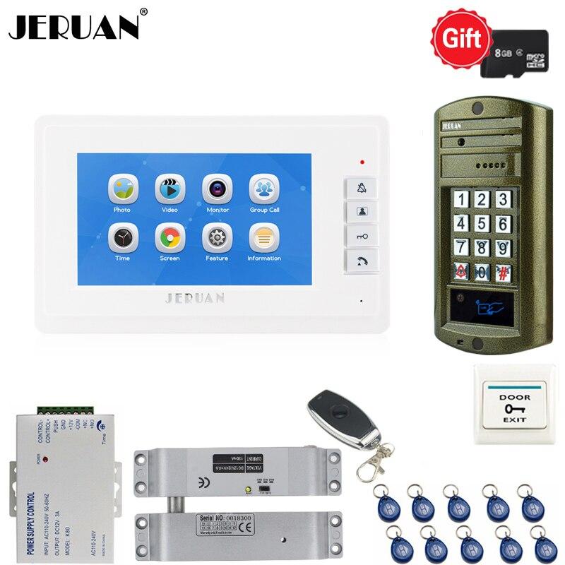 Home 7 Inch Video Door Phone Voice/Video Recording Intercom System Kit 1 White Monitor+ Waterproof Password Access Mini Camera