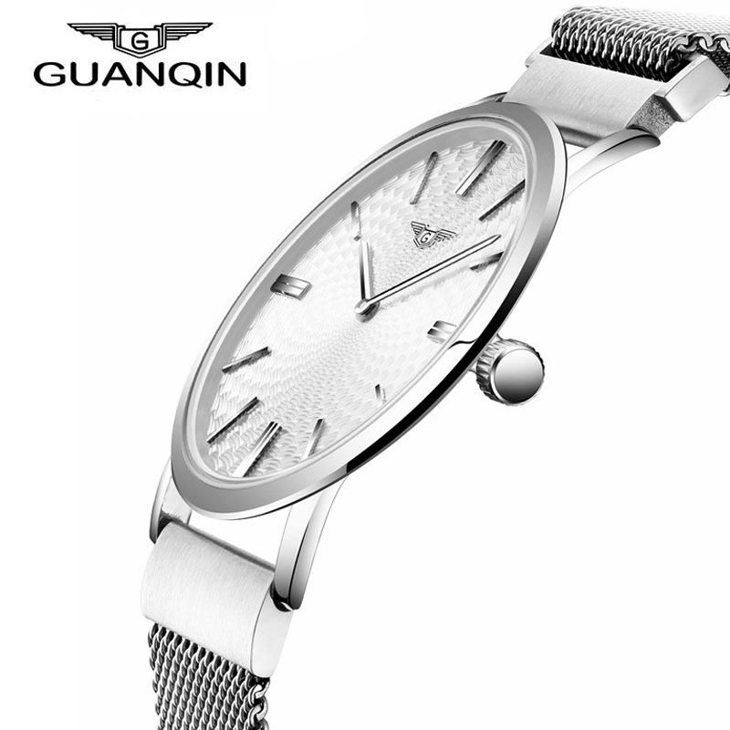 ФОТО 2016 Men's Watches New Fashion Luxury Top Brand GUANQIN Leather Band Sports Thin Dial Clock For Male Quartz Wrist Watches