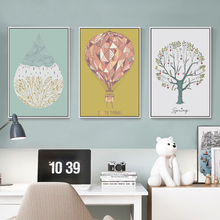 Elegant Poetry Tree Water Drop Hot Air Balloon Abstract A4 Canvas Painting Art Print Poster Picture Wall Modern Home Decoration
