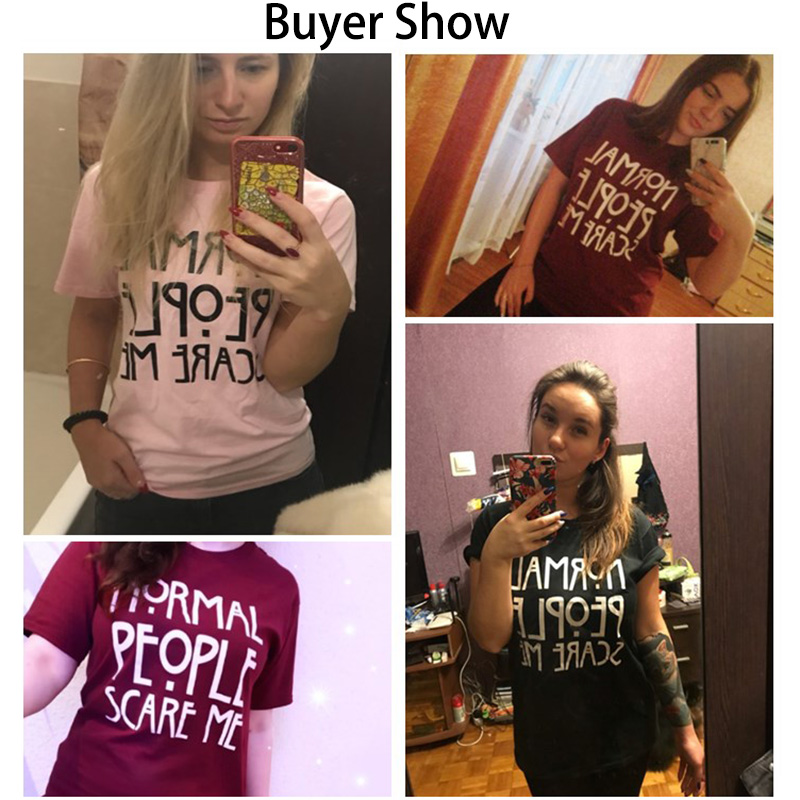 HTB1BbeuafLsK1Rjy0Fbq6xSEXXas - Women Maroon T-shirt Cotton Normal People Scare Me Printed Funny Tshirt Women Short Sleeve Summer Tumblr Tops Camisetas Mujer