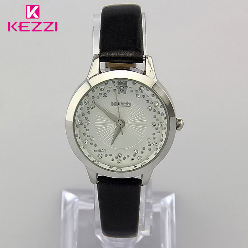 KEZZI Brand Leather Strap Watches Gold & Silver Case Clock Female Watches For Ladies Analog Display Quartz Women Girl Wristwatch kezzi shiny diamond wristwatch ladies analog quartz watch ceramic strap