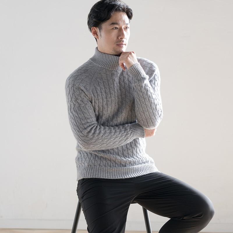 Зимние кашемировые утепленные Для мужчин свитер Повседневное водолазка пуловеры мужские свитера Вязание человек одежда синий, серый цвет ...