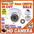 HotSale HD 1/3 cmos 1200TVL КРЫТЫЙ Купол Видеонаблюдения Аналоговые CCTV мини Камеры 36LED ИК-Ночного Видения 30 м домашнее Видео