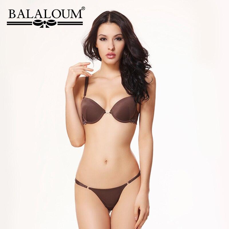 BALALOUM Sexy Women T Shirt Bra And Panty Sets Lace Rhinestone Push Up Brassiere Underwear Lingerie Set Seamless T Back Thongs