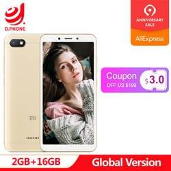 """Глобальная версия Xiaomi Redmi 6A 2 GB 16 GB 5,45 """"18:9 полный Экран MTK Helio A22 4 ядра 13MP Камера 3000 mAh Телефон"""