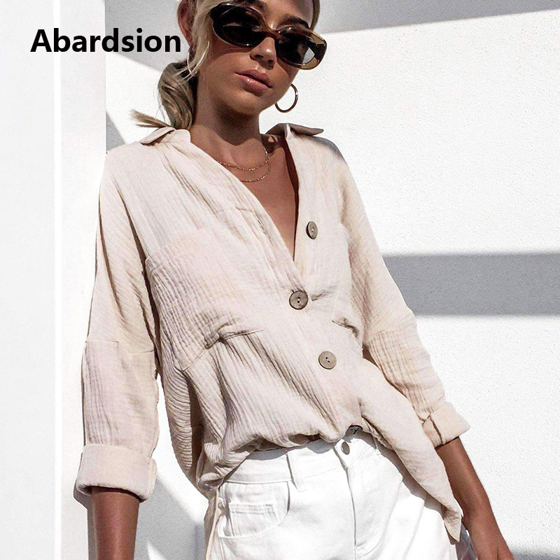 Abardsion Cotton Linen Elegant   Blouse   Woman Casual Button Down   Shirt   Lone Sleeve Front Pockets Autumn Womens Tops And   Blouses