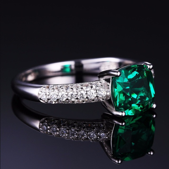 JewelryPalace Cushion 1.8ct Created Emerald Solitaire Engagement Ring 925 Sterling Silver 2016 New Fashion