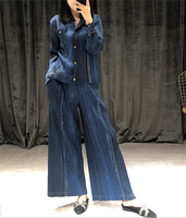 HOT SELLING Miyake fold the clothes denim suit fold long sleeve denim coat + wide legged pants Two piece suit IN STOCK