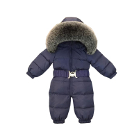 Dollplus 2019 Baby Jumpsuits Boys Girls Winter Overalls Baby Rompers Kids Snowsuit Duck Down Children Jumpsuit Real Fur Collar