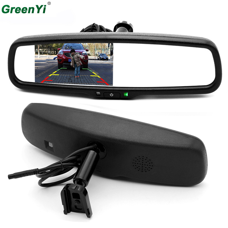 GreenYi 4.3 HD 800*480 Car Rearview Mirror Monitor 2CH Video Input For Car Rear View Camera Parking Assistance Car Video Player